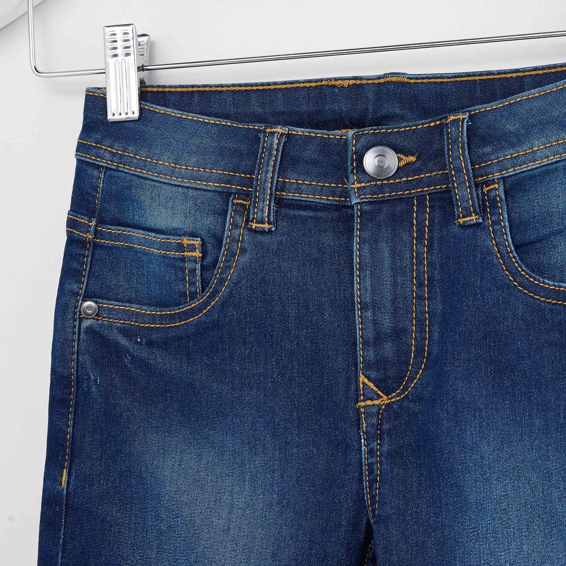 Plain Denim Shorts with Pocket Detail and Belt Loops