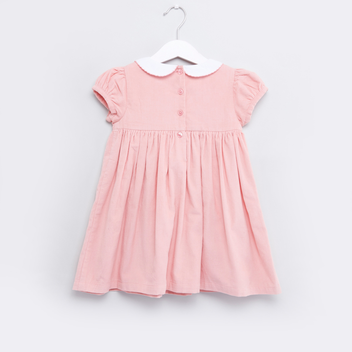 Smocked Dress with Peter Pan Collar and Cap Sleeves