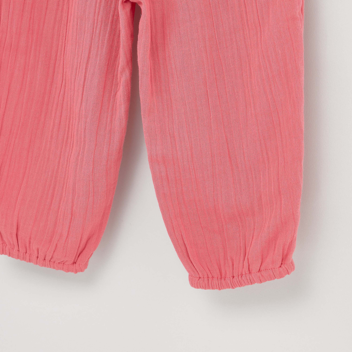 Textured Pants with Bow Applique and Pocket Detail