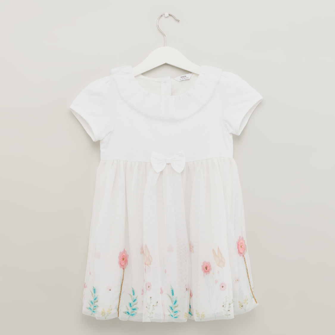 Botanical Print Floral Dress with Short Sleeves