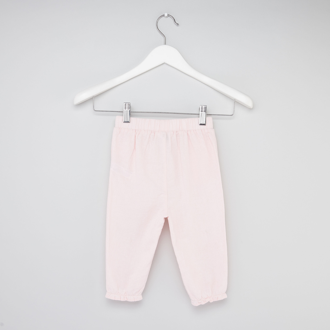 Embroidered Pants with Elasticised Waistband and Bow Applique Detail