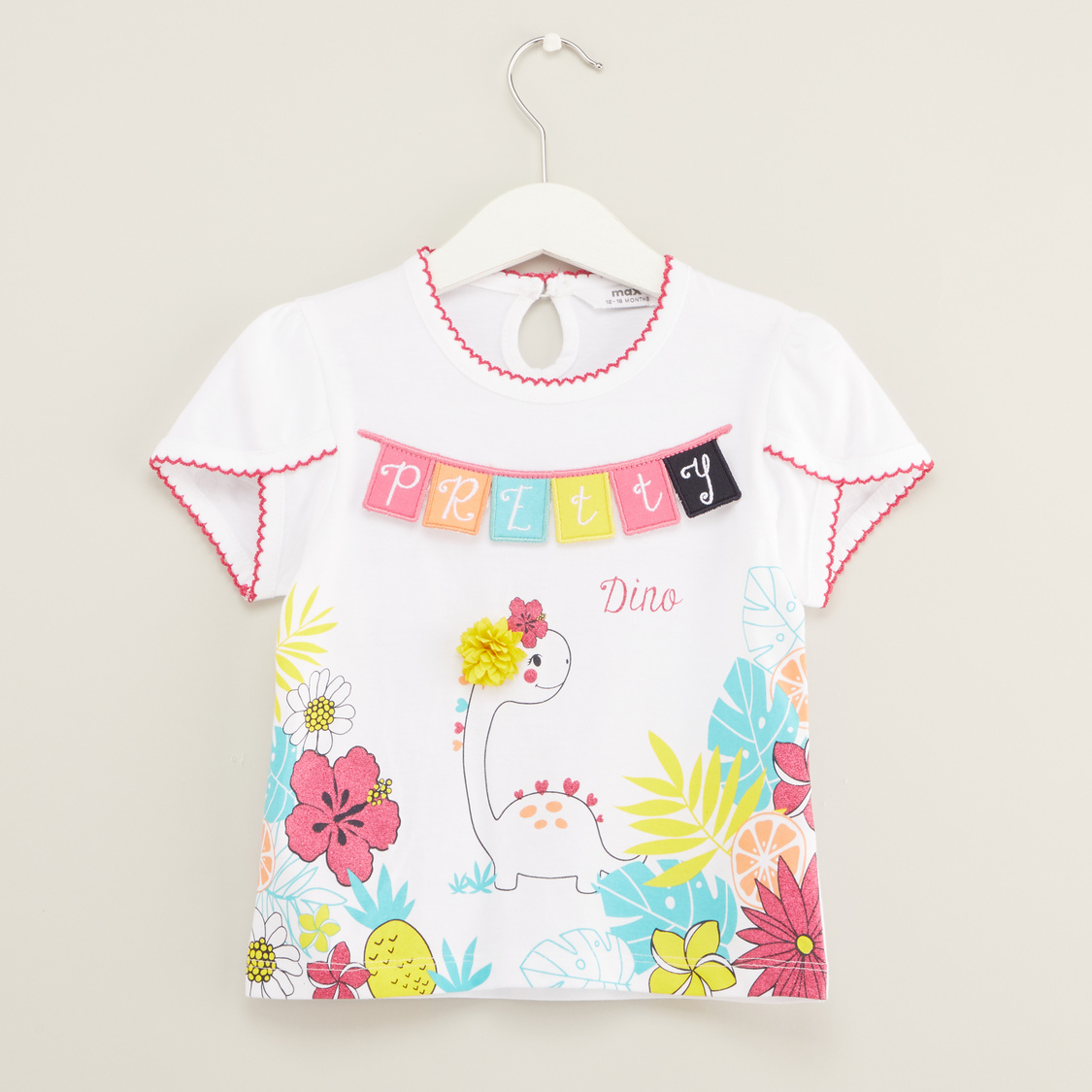 Applique Detail T-shirt with Round Neck and Short Sleeves