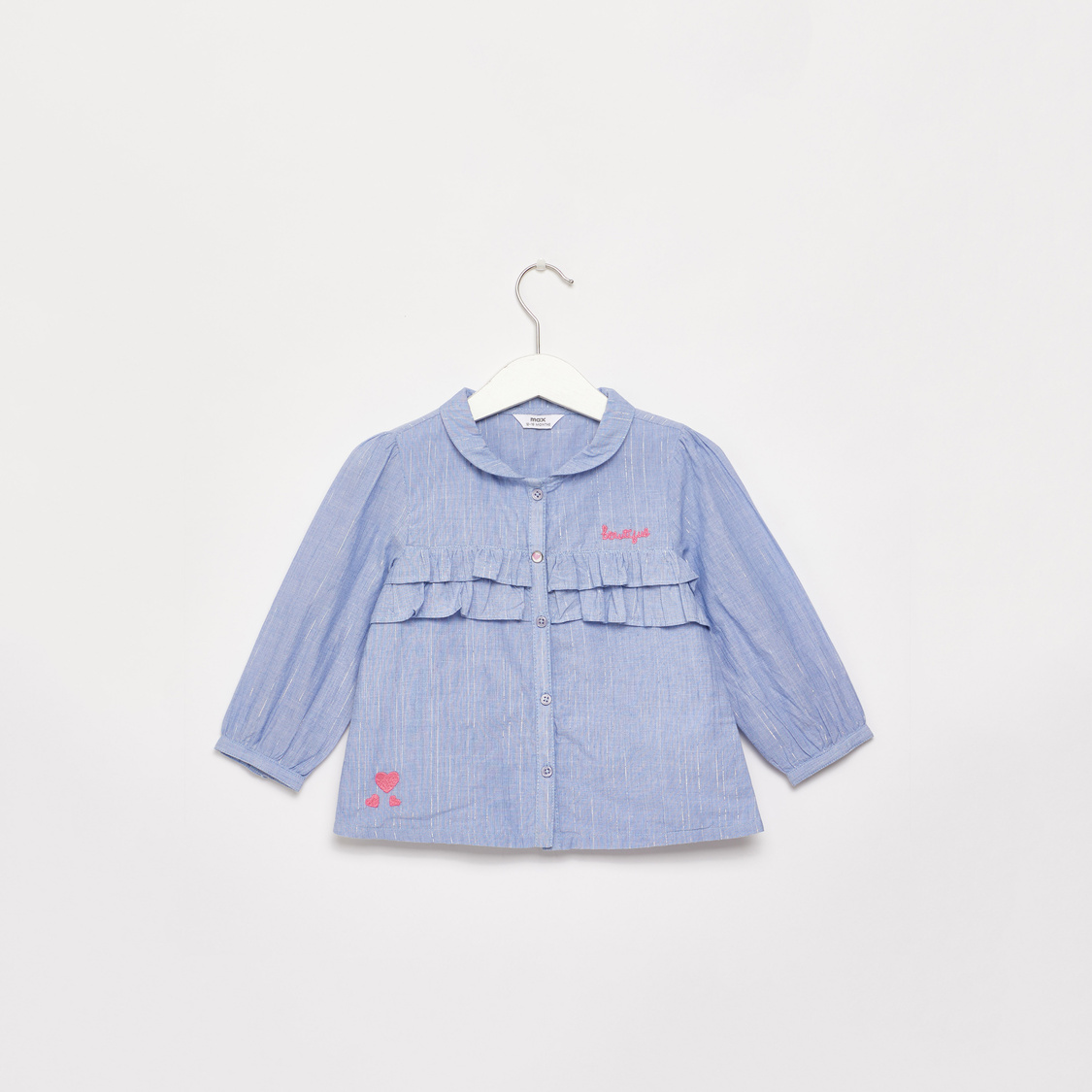Textured Shirt with Long Sleeves and Frill Detail