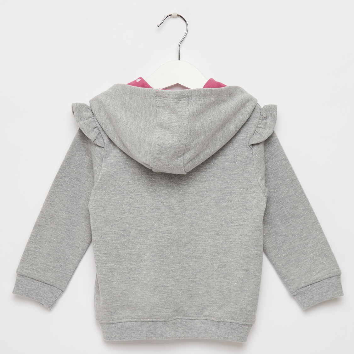 Hooded Long Sleeves Jacket with Heart Applique and Frill Detail