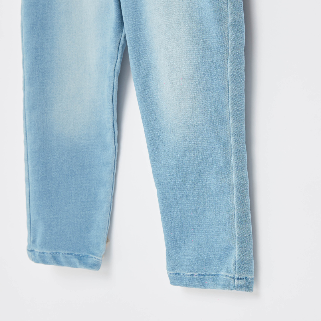Pull-On Jeans with Ribbed Waist and 5-Pockets