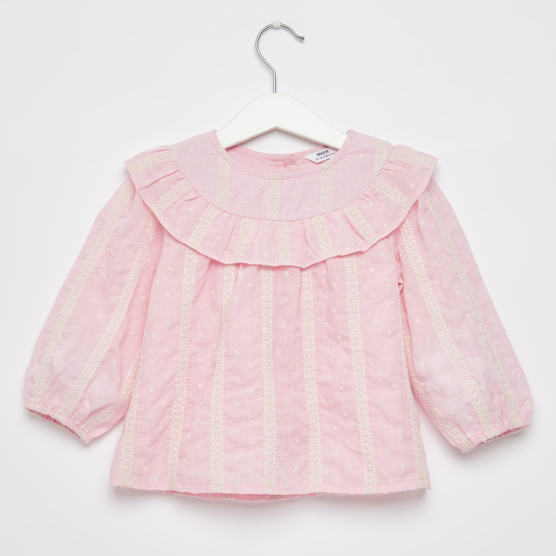 Embroidered Top with Long Sleeves and Frill Detail