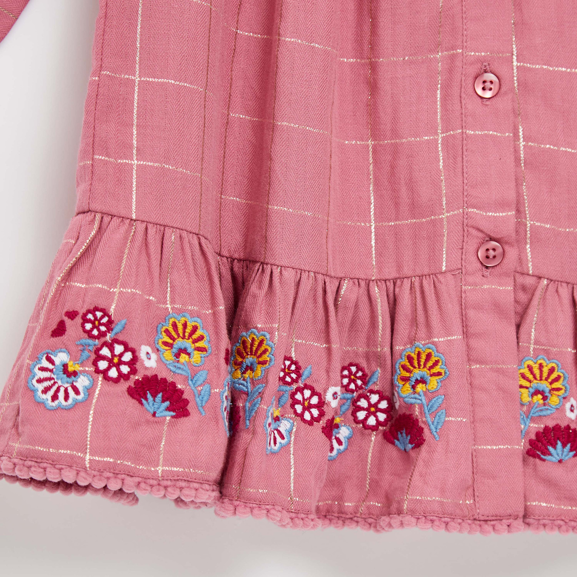 Embroidered Knee Length Dress with Long Sleeves