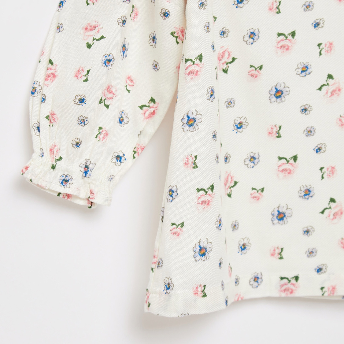 All-Over Floral Print Top with Long Sleeves and Frill Detail