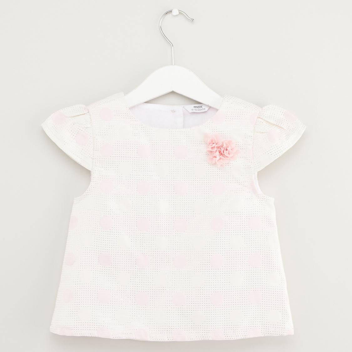 Textured Polka Dots Print Top and Skirt Set