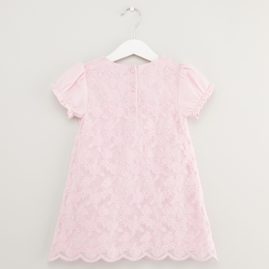 Textured A-line Round Neck Dress with Short Sleeves