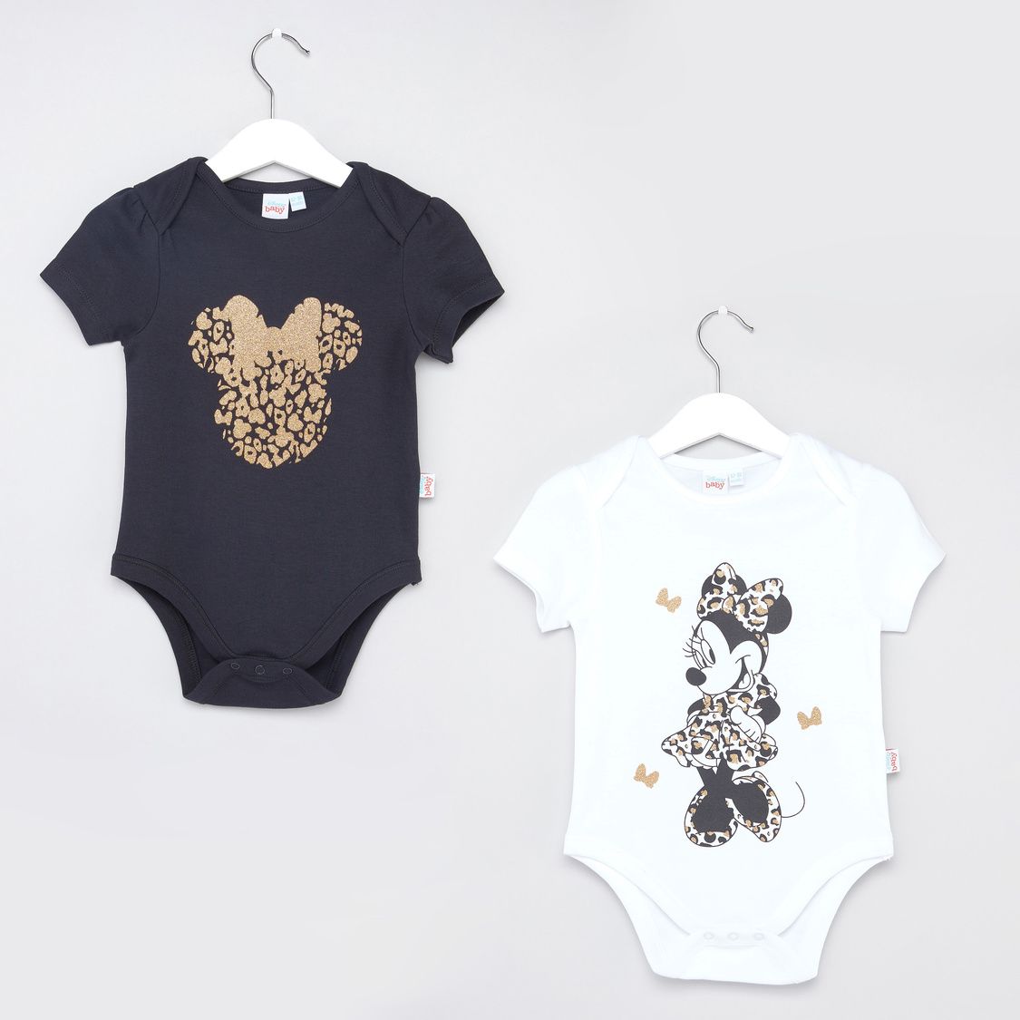 Set of 2 - Minnie Mouse Printed Bodysuit with Short Sleeves