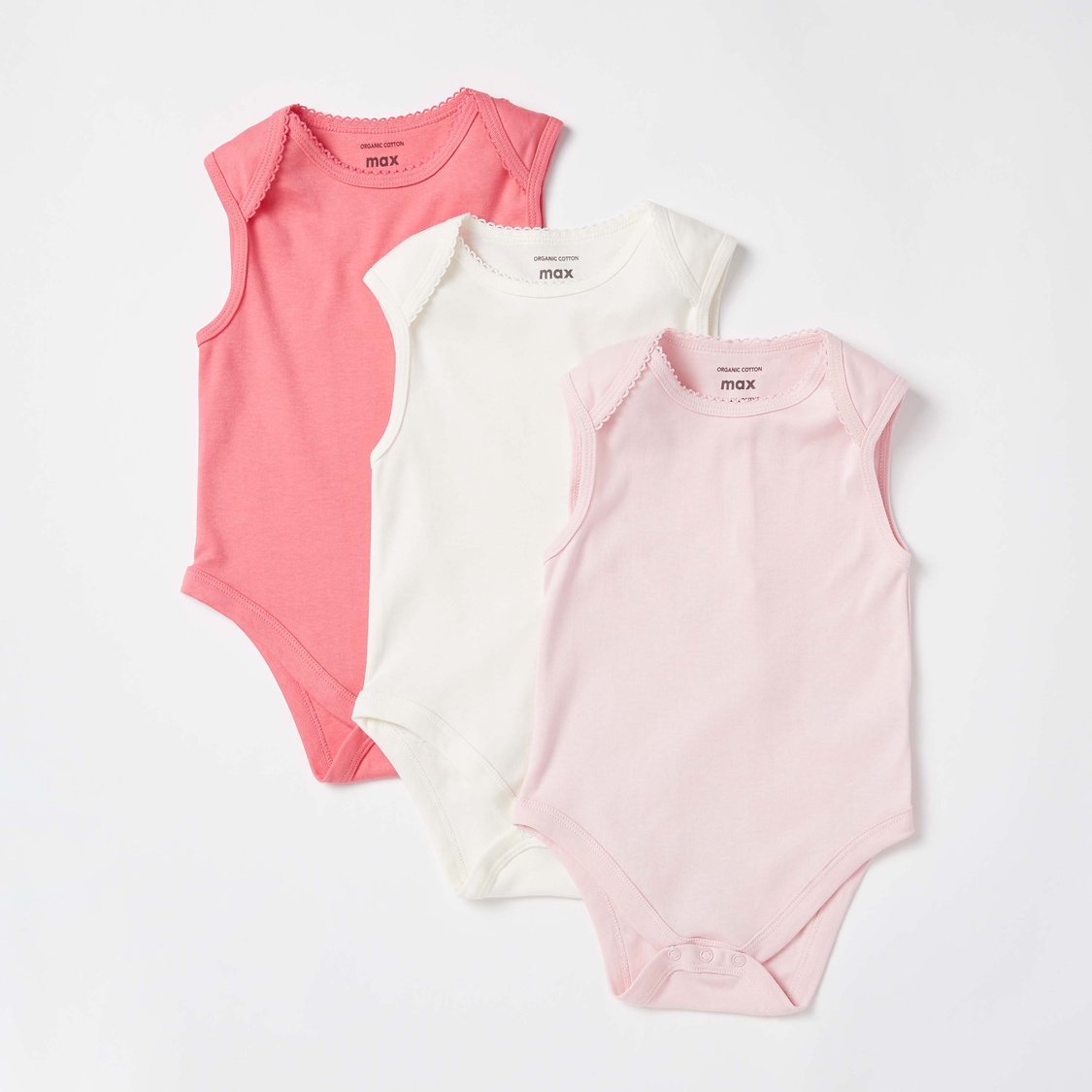Pack of 3 - Solid Sleeveless Bodysuit with Lace Detail