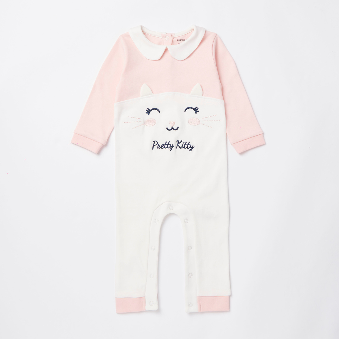 Embroidered GOTS Organic Cotton Sleepsuit and Beanie Cap Set