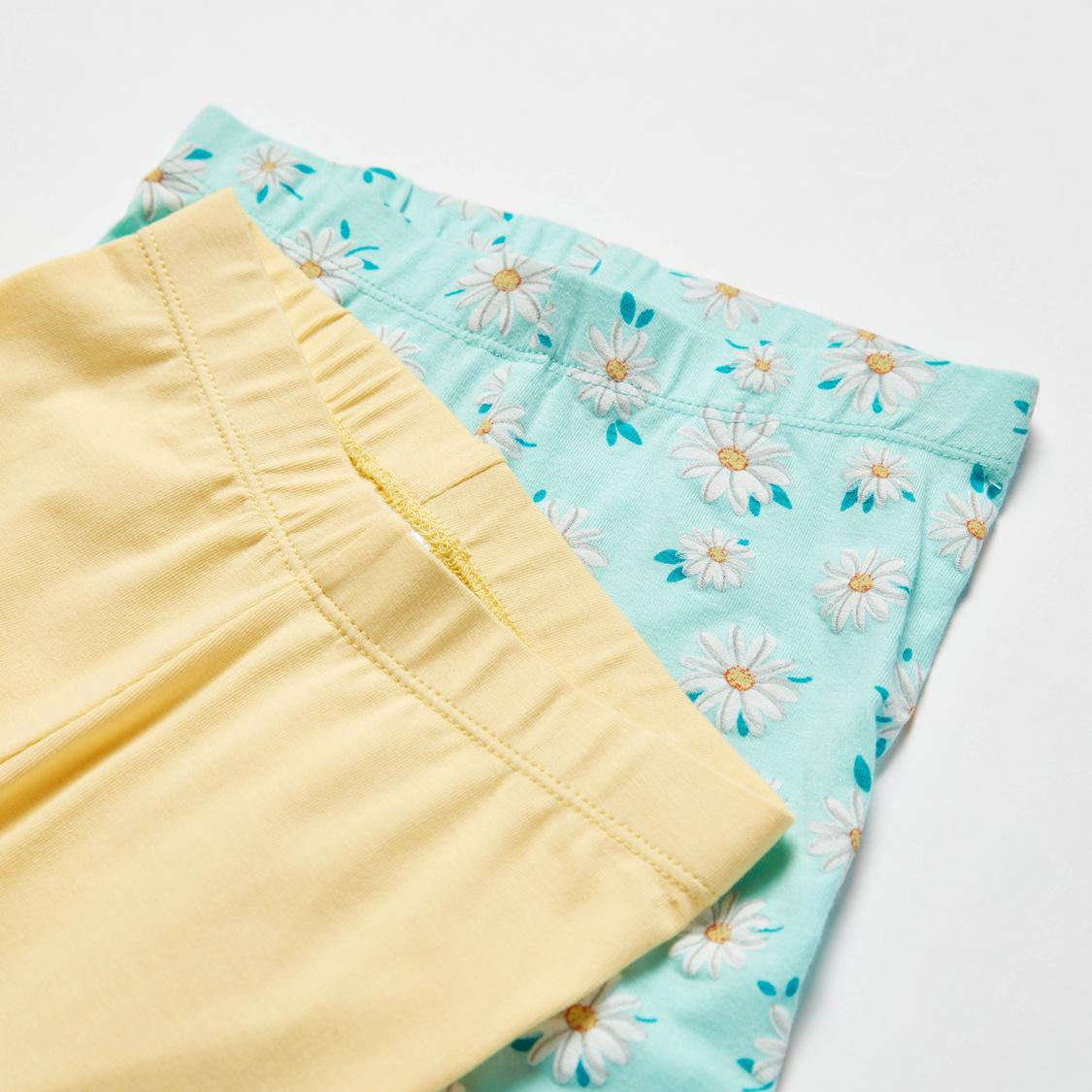 Set of 2 - Printed Full Length Leggings with Elasticised Waistband
