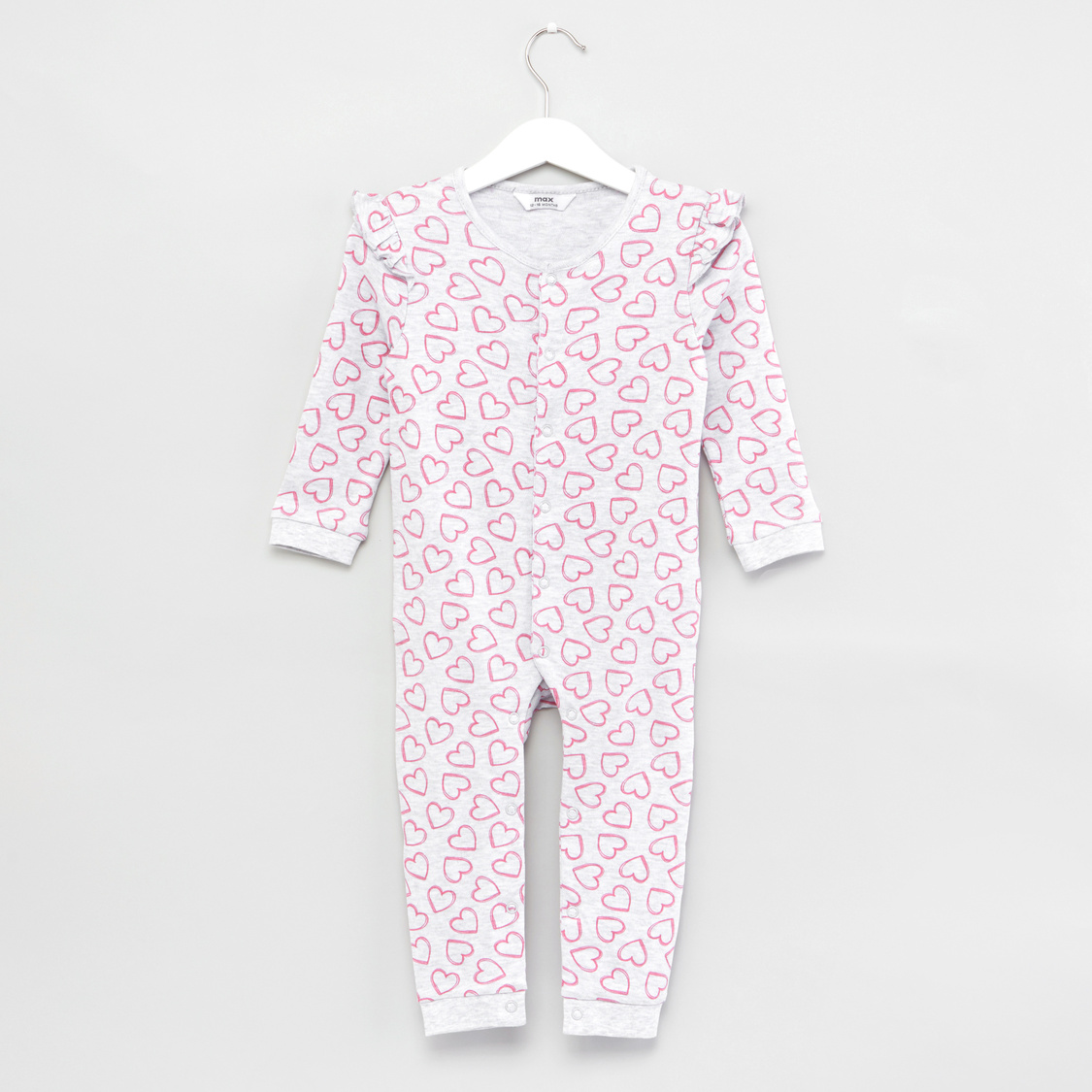 Heart Print Sleepsuit with Long Sleeves