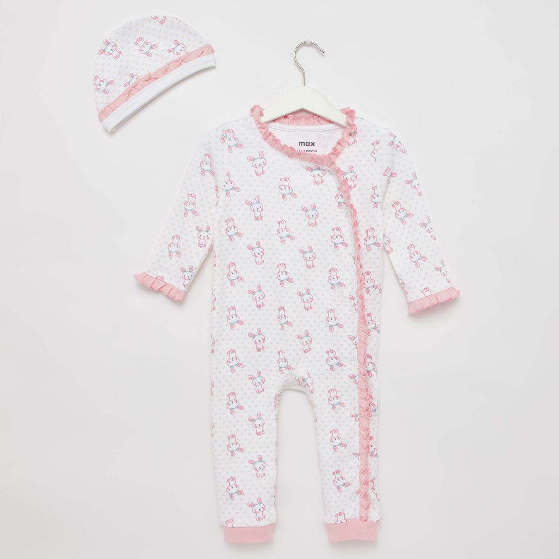 Bunny Print Long Sleeves Sleepsuit with Cap
