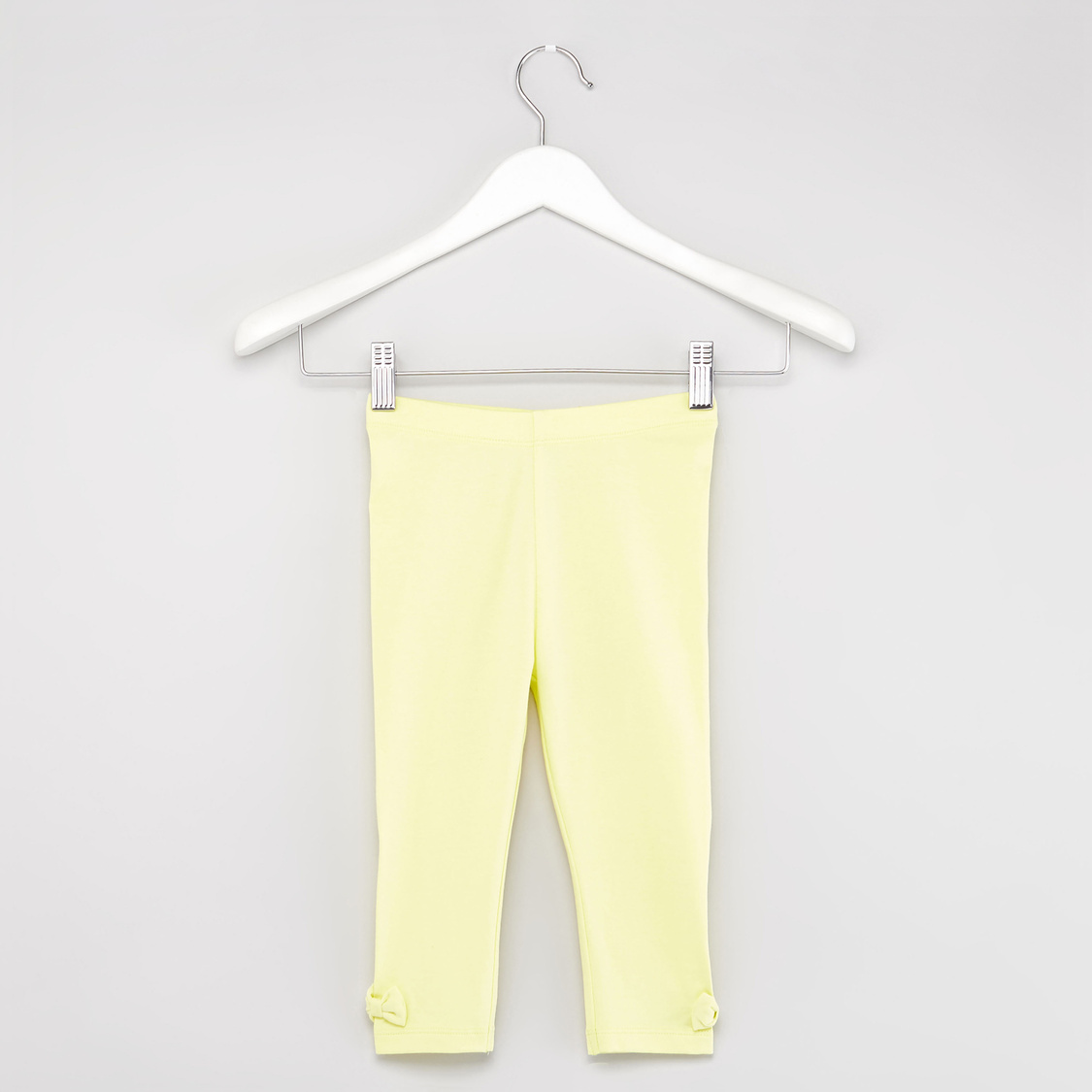 Solid Leggings with Bow Applique Detail and Elasticised Waistband