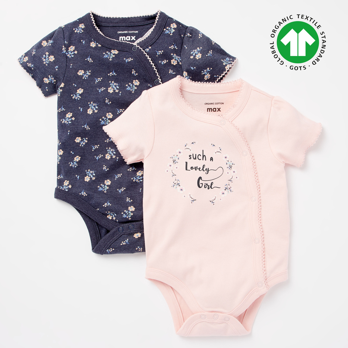 Set of 2 - Printed GOTS Organic Cotton Bodysuit with Short Sleeves