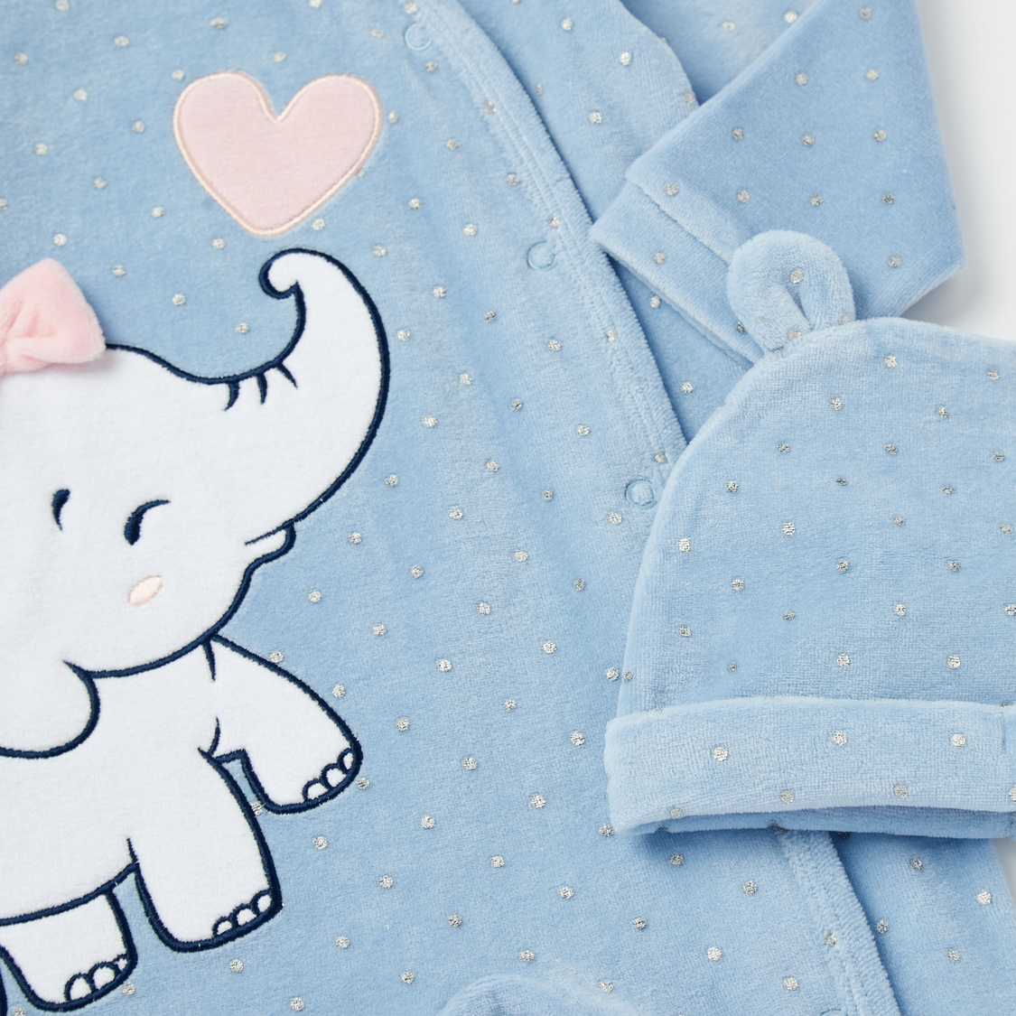 Embroidered Elephant Applique Velour Sleepsuit with Cap