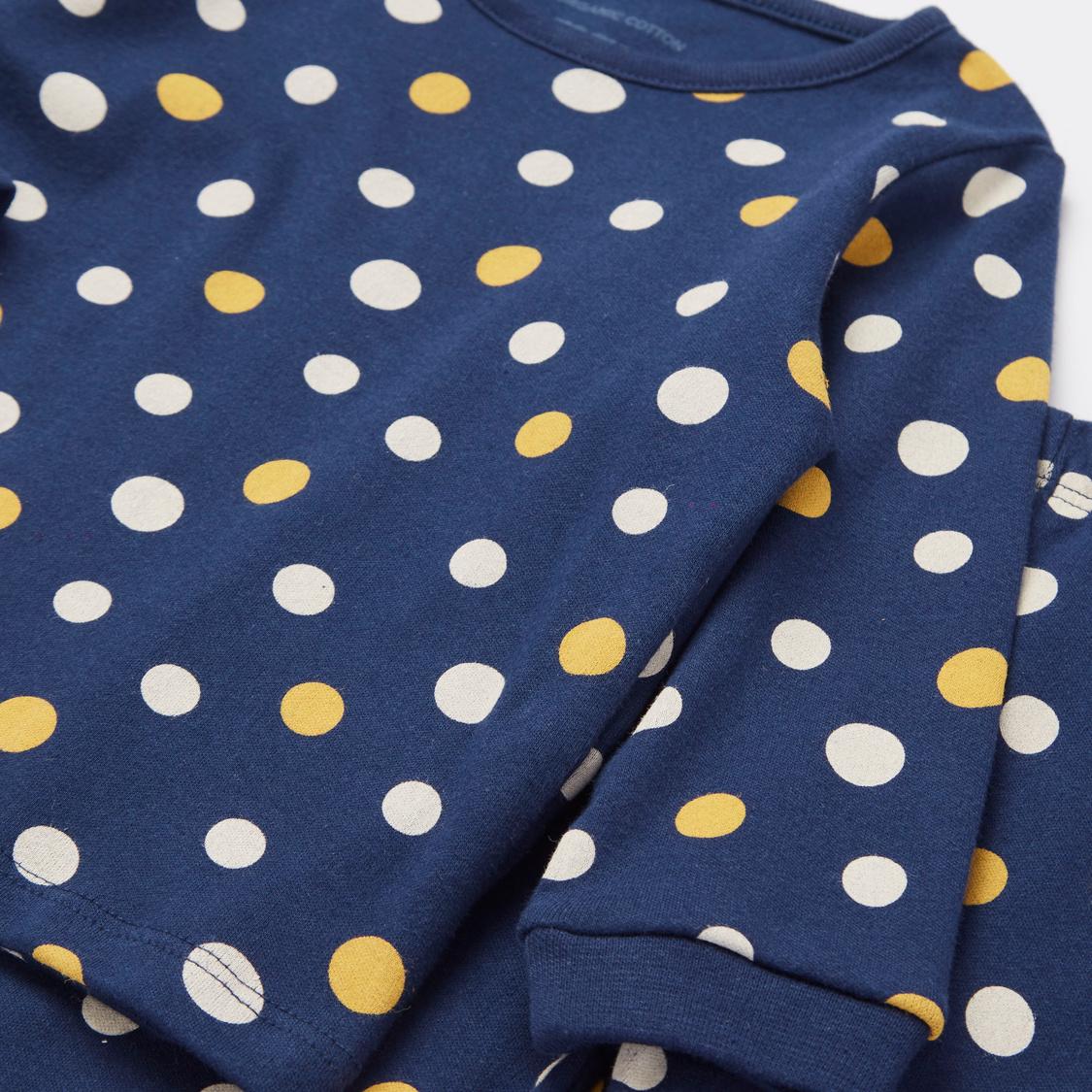 Polka Dot Print Long Sleeves T-shirt and Pyjama Set
