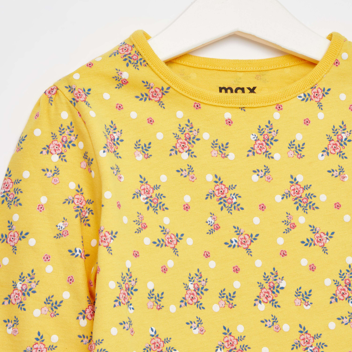 Floral Print Round Neck Top with Long Sleeves