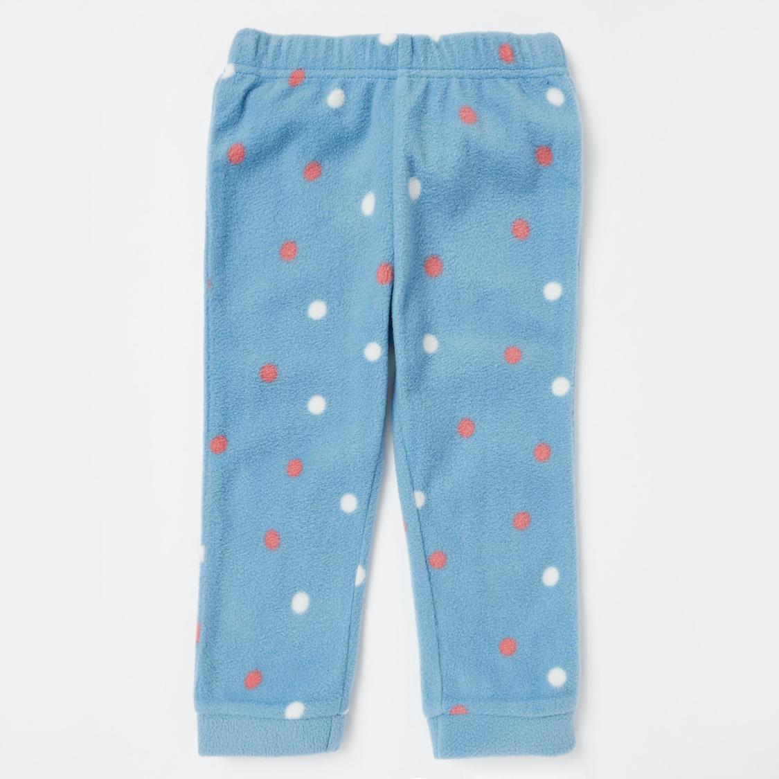 Embroidered T-shirt and Printed Full Length Pyjama Set