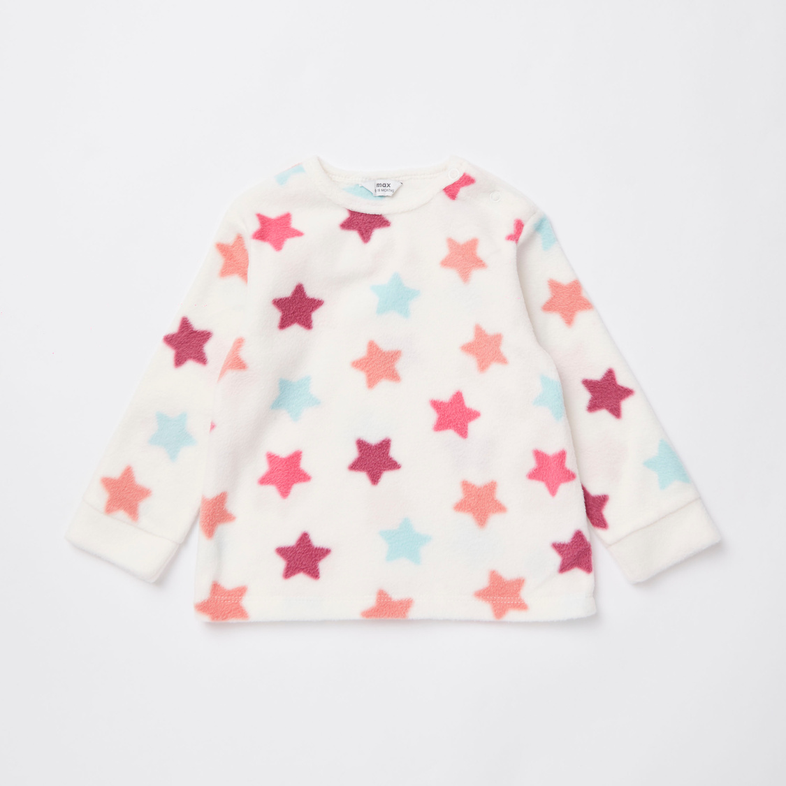 Star Print Long Sleeves Top and Full Length Pyjama Set