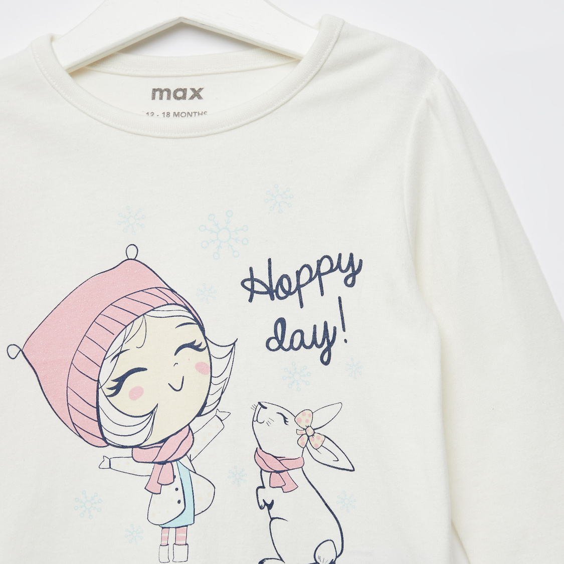 Bunny Print Round Neck T-shirt with Long Sleeves