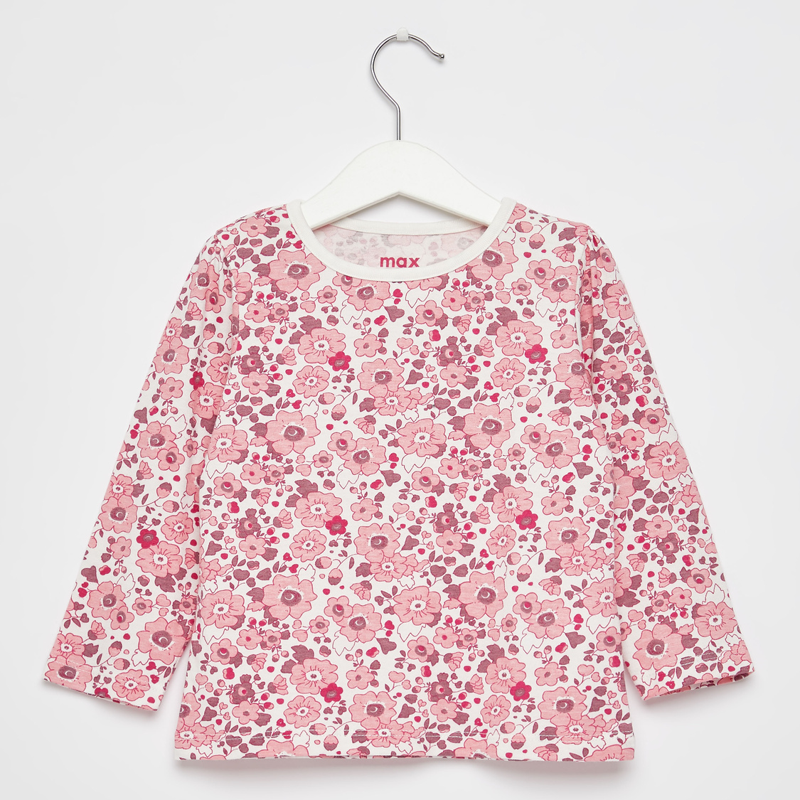 Floral Print T-shirt with Round Neck and Long Sleeves