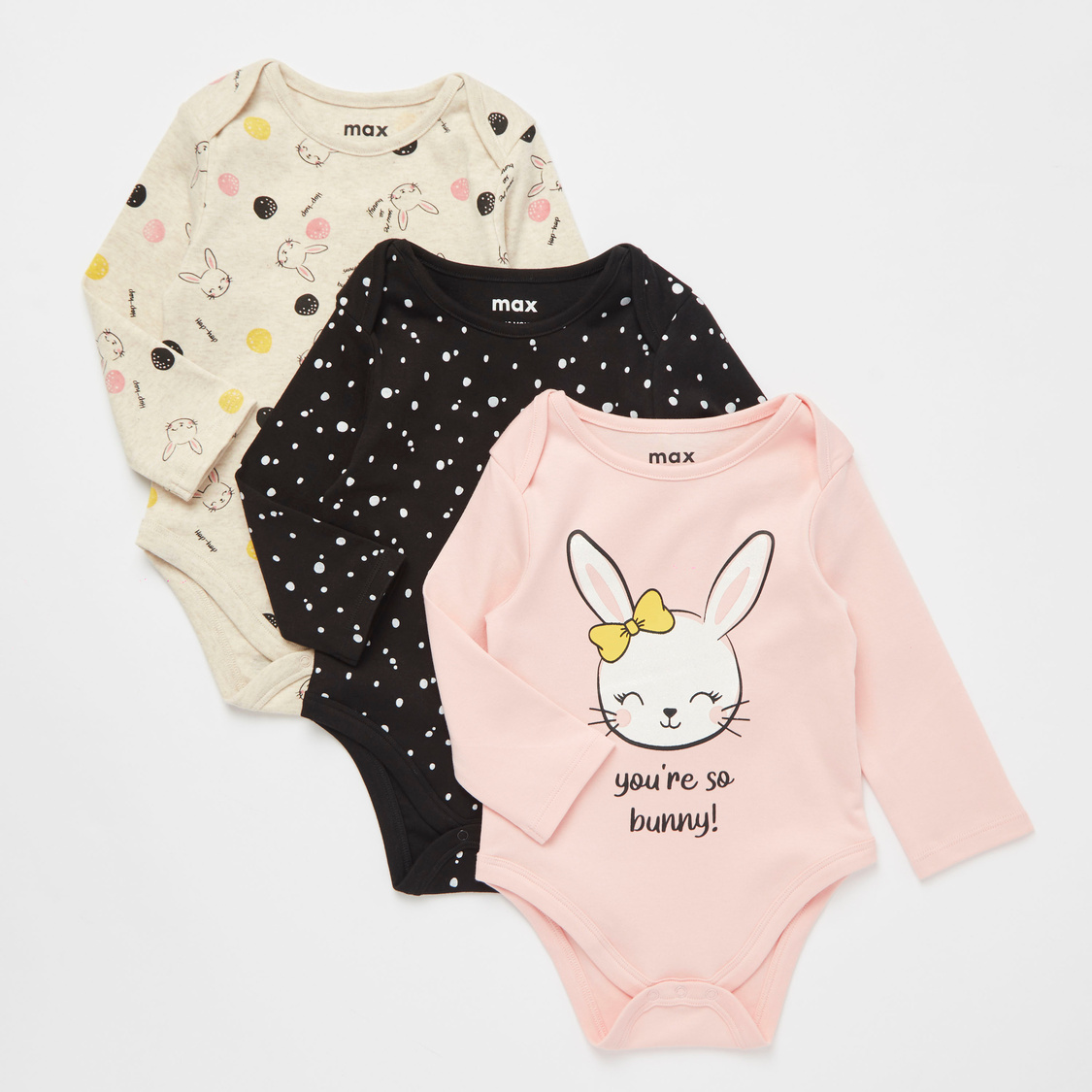 Set of 3 - Printed Bodysuit with Round Neck and Long Sleeves