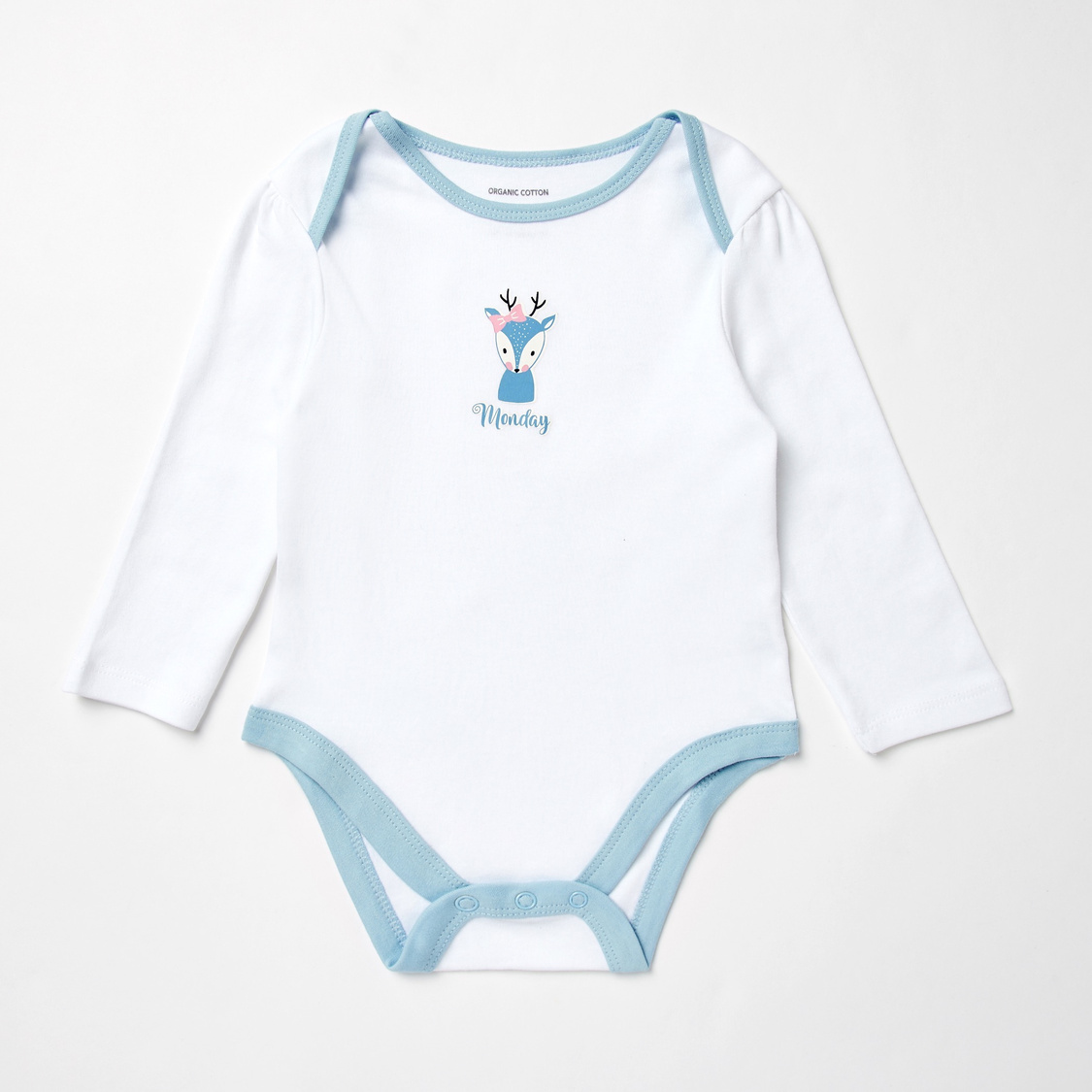 Set of 7 - Printed GOTS Organic Cotton Bodysuit with Long Sleeves
