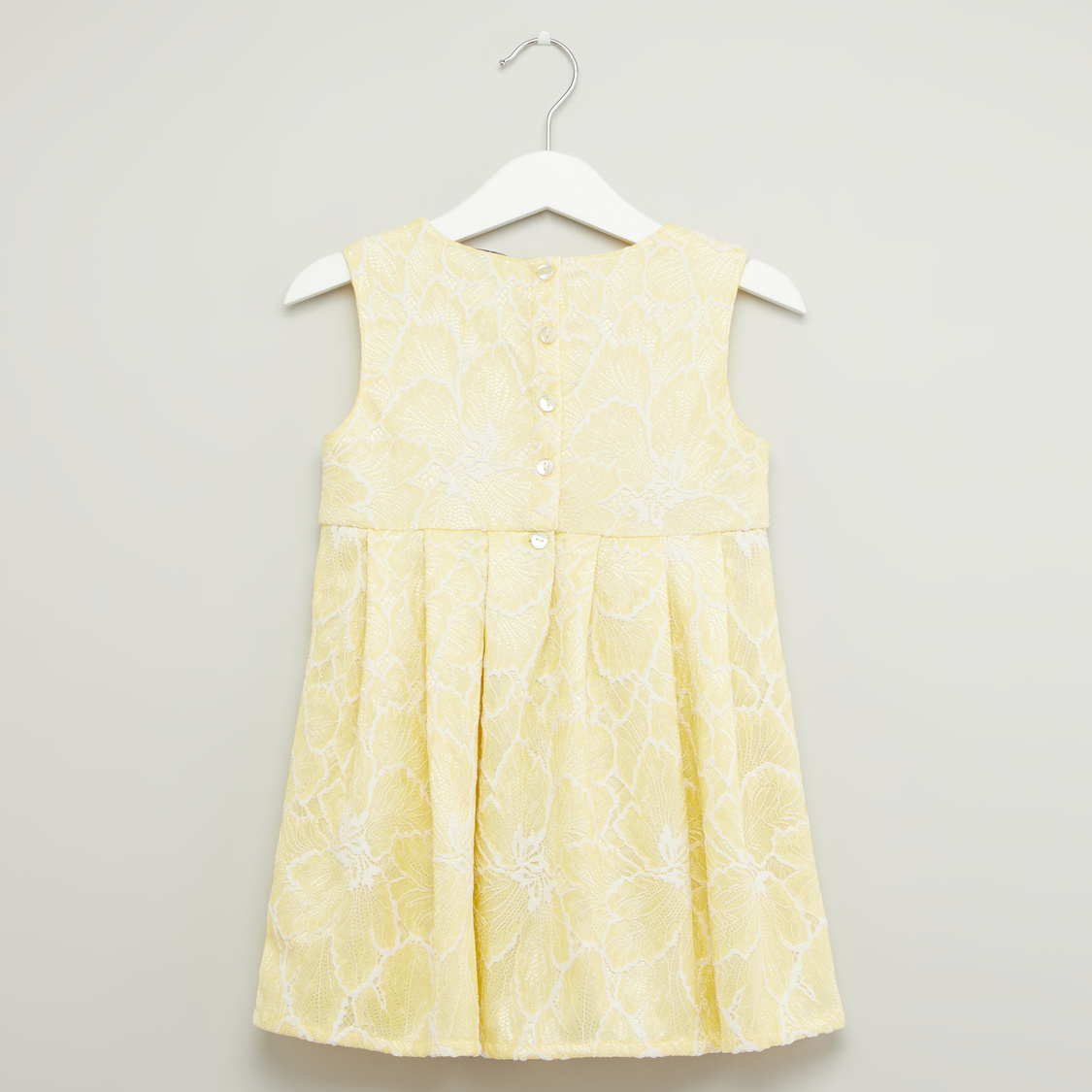 Lace Sleeveless Dress with Round Neck and Bow Applique
