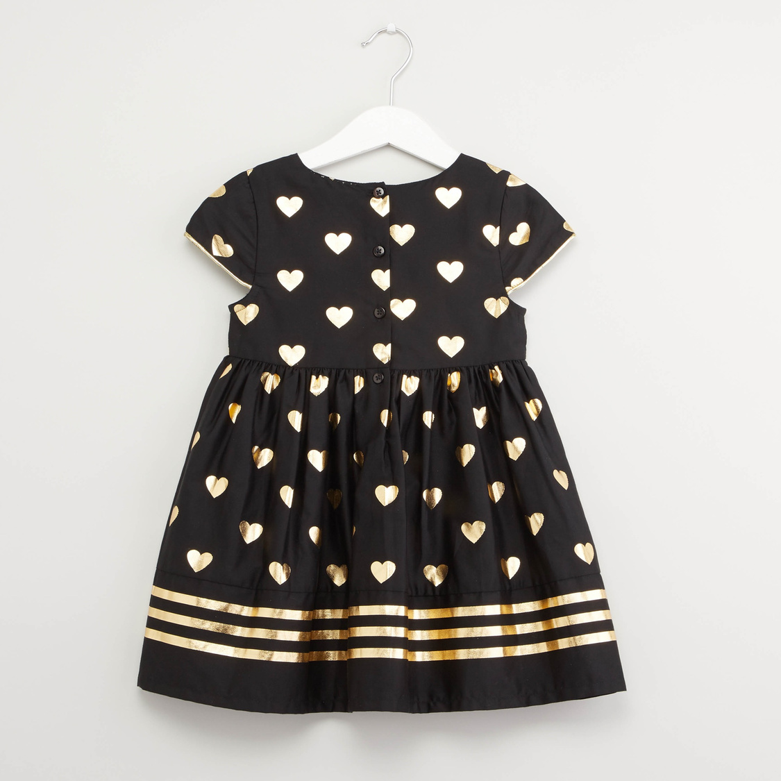 Printed Dress with Round Neck and Cap Sleeves