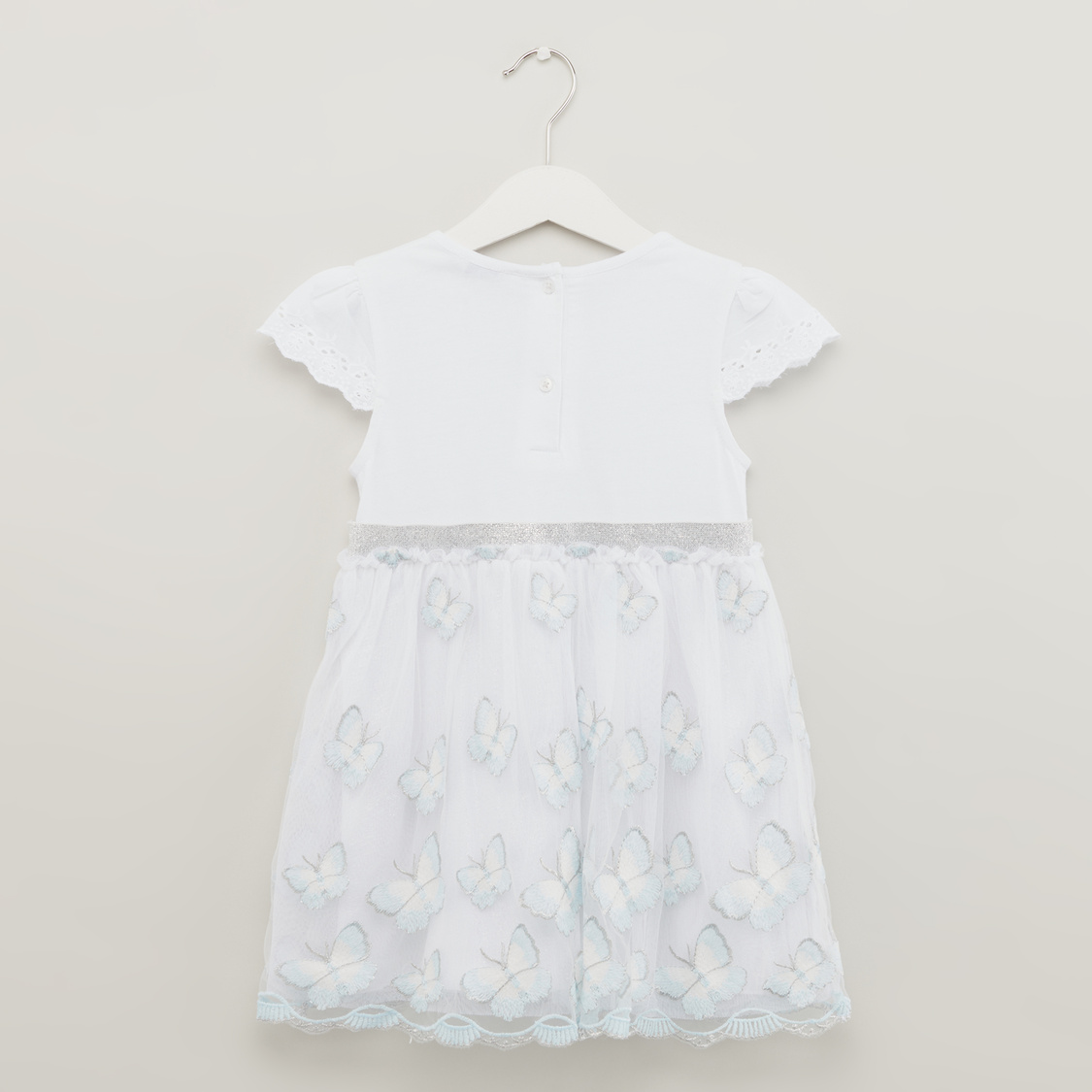 Round Neck Woven Butterfly Knit Dress with Cap Sleeves