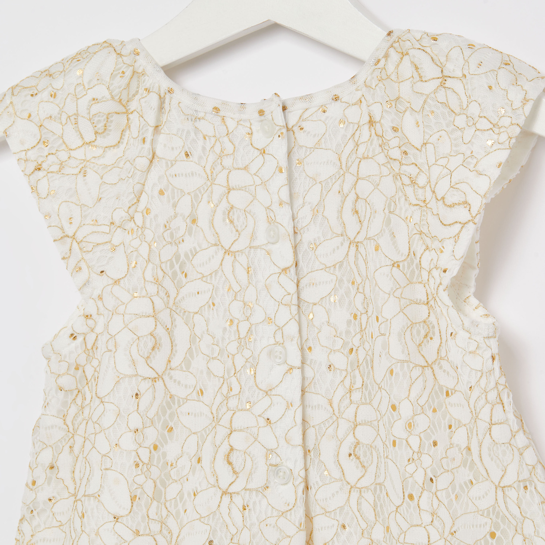 Embellished Romper with Lace Detail and Cap Sleeves