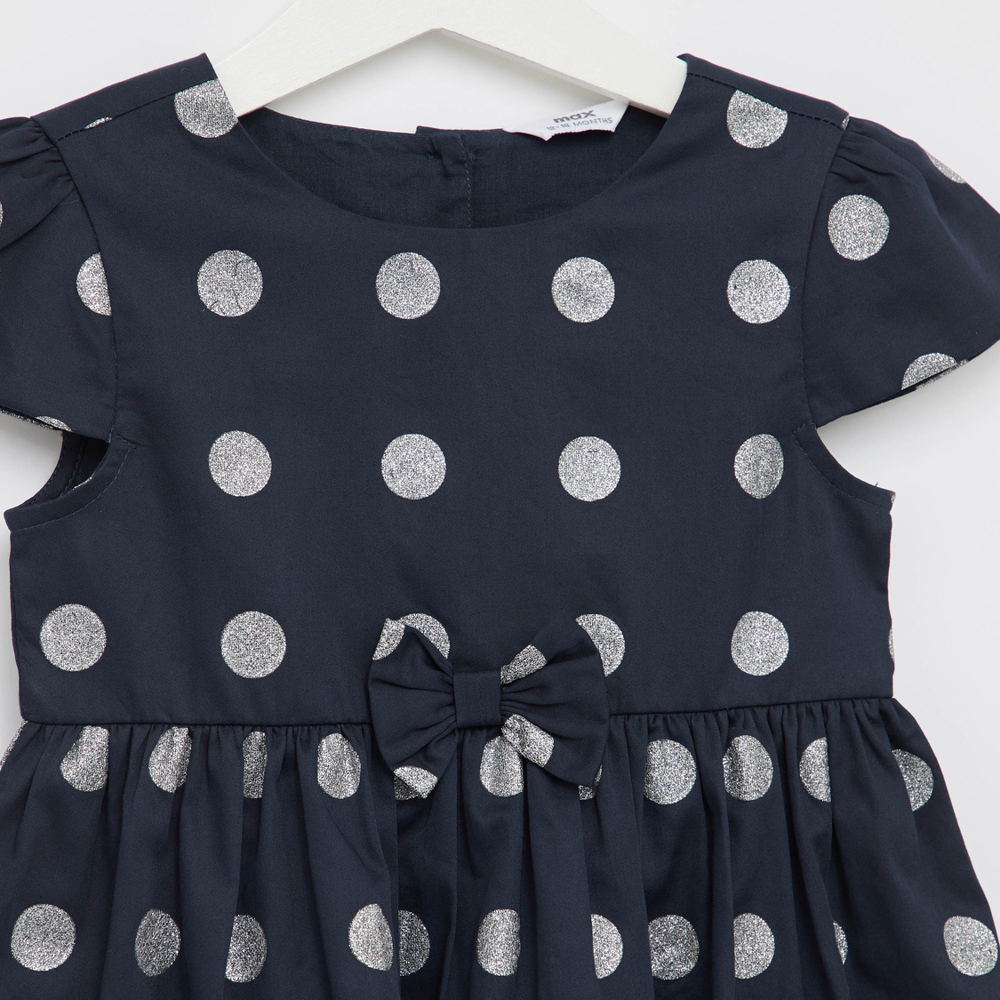 Glitter Spot Print Dress with Round Neck and Cap Sleeves