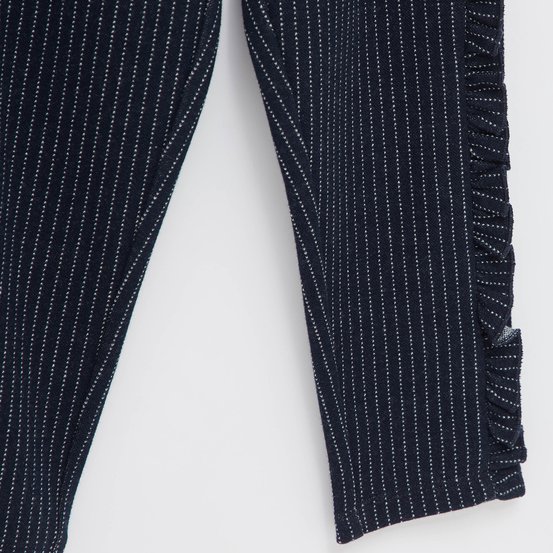 Striped Full Length Pants with Elasticated Waistband and Ruffle Detail