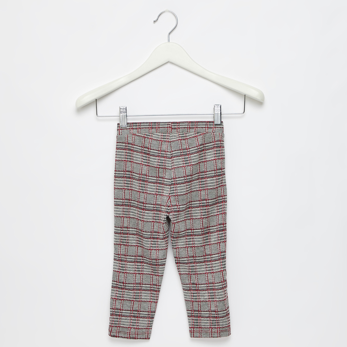 Chequered Pants with Bow Applique and Ruffle Detail
