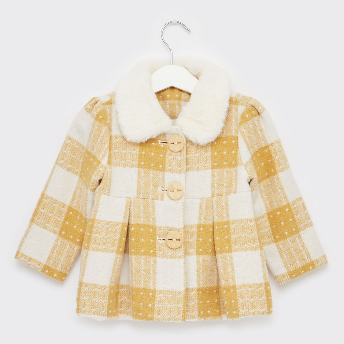 Checked Coat with Plush Collar and Long Sleeves