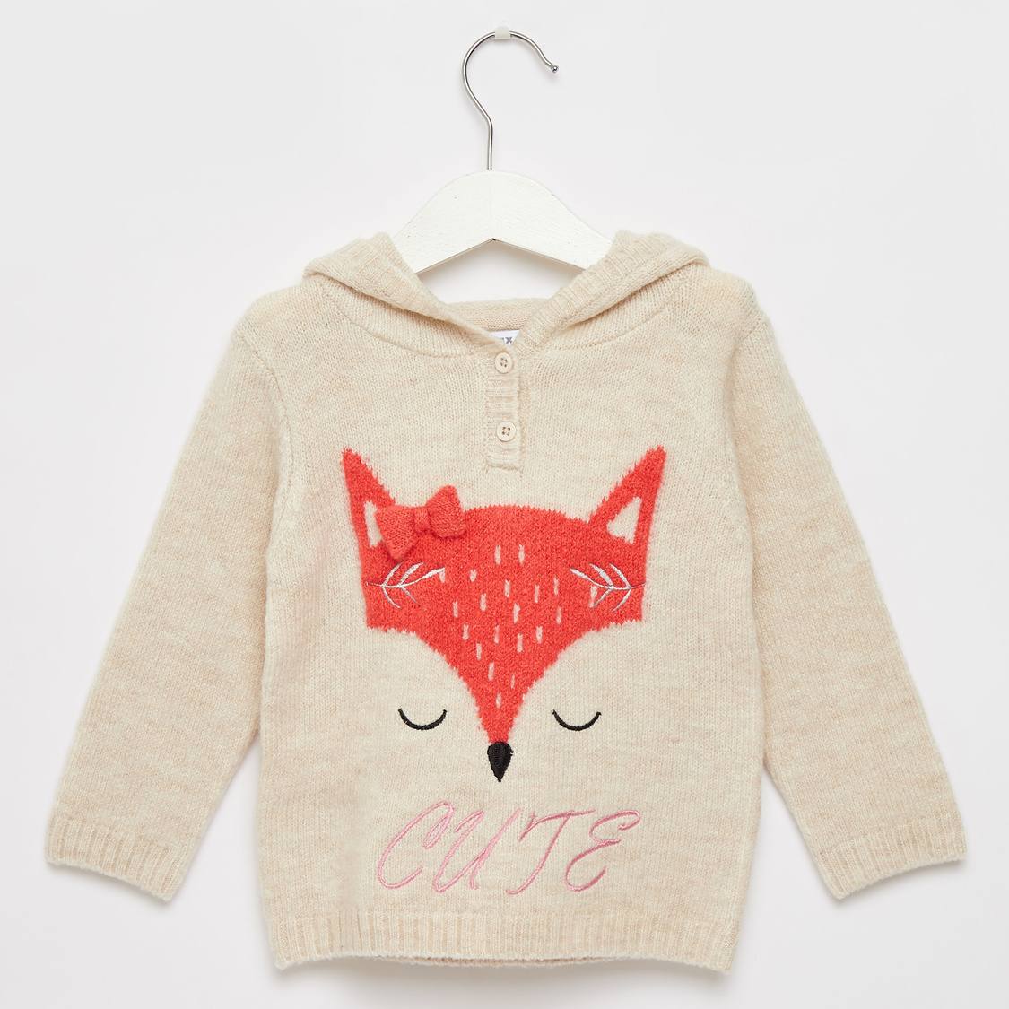 Textured Sweater with Hood and Bow Applique Detail