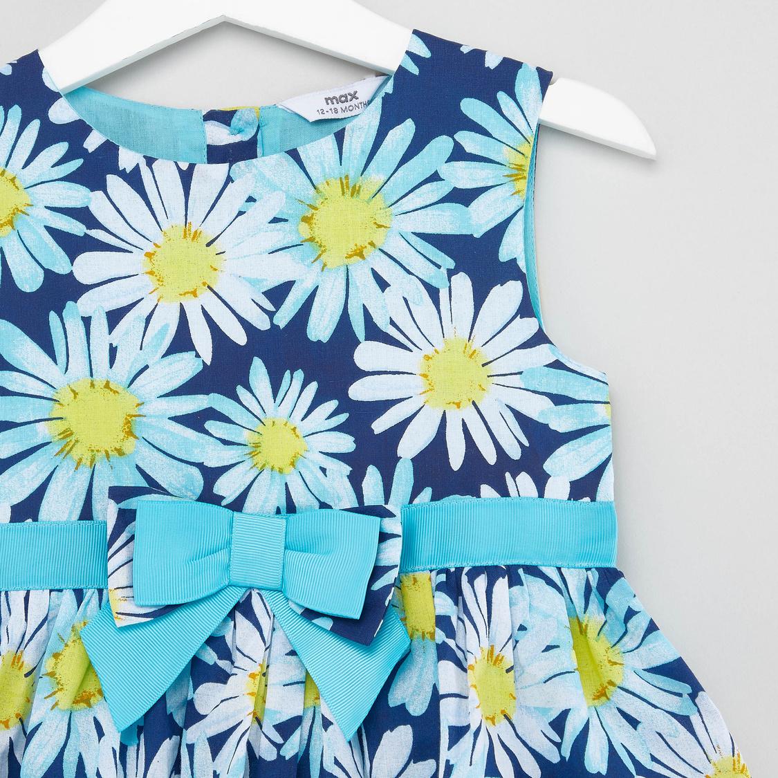 Floral Print Sleeveless Dress with Schiffli Detail
