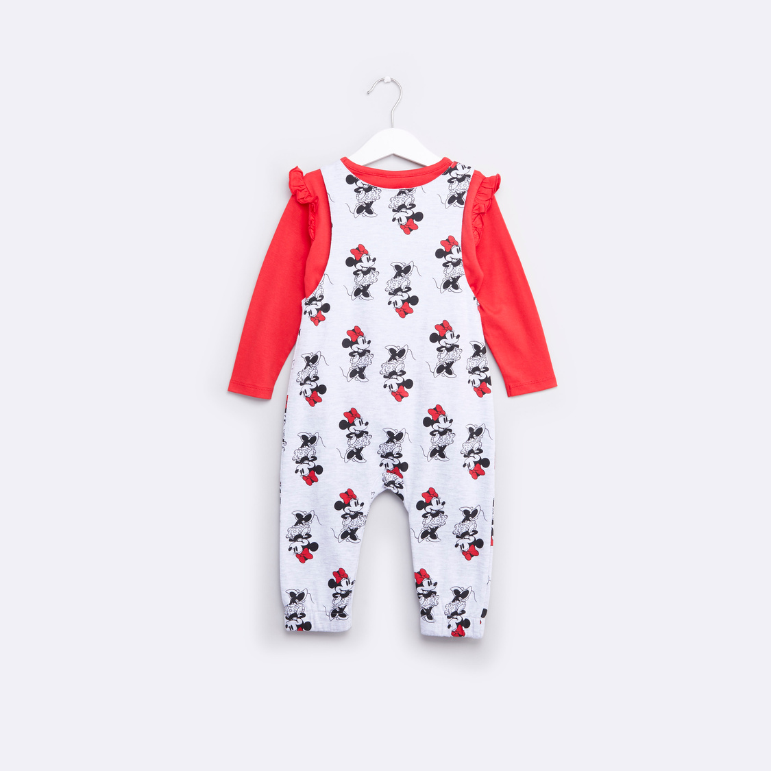 Plain Round Neck T-shirt with Minnie Mouse Printed Dungarees