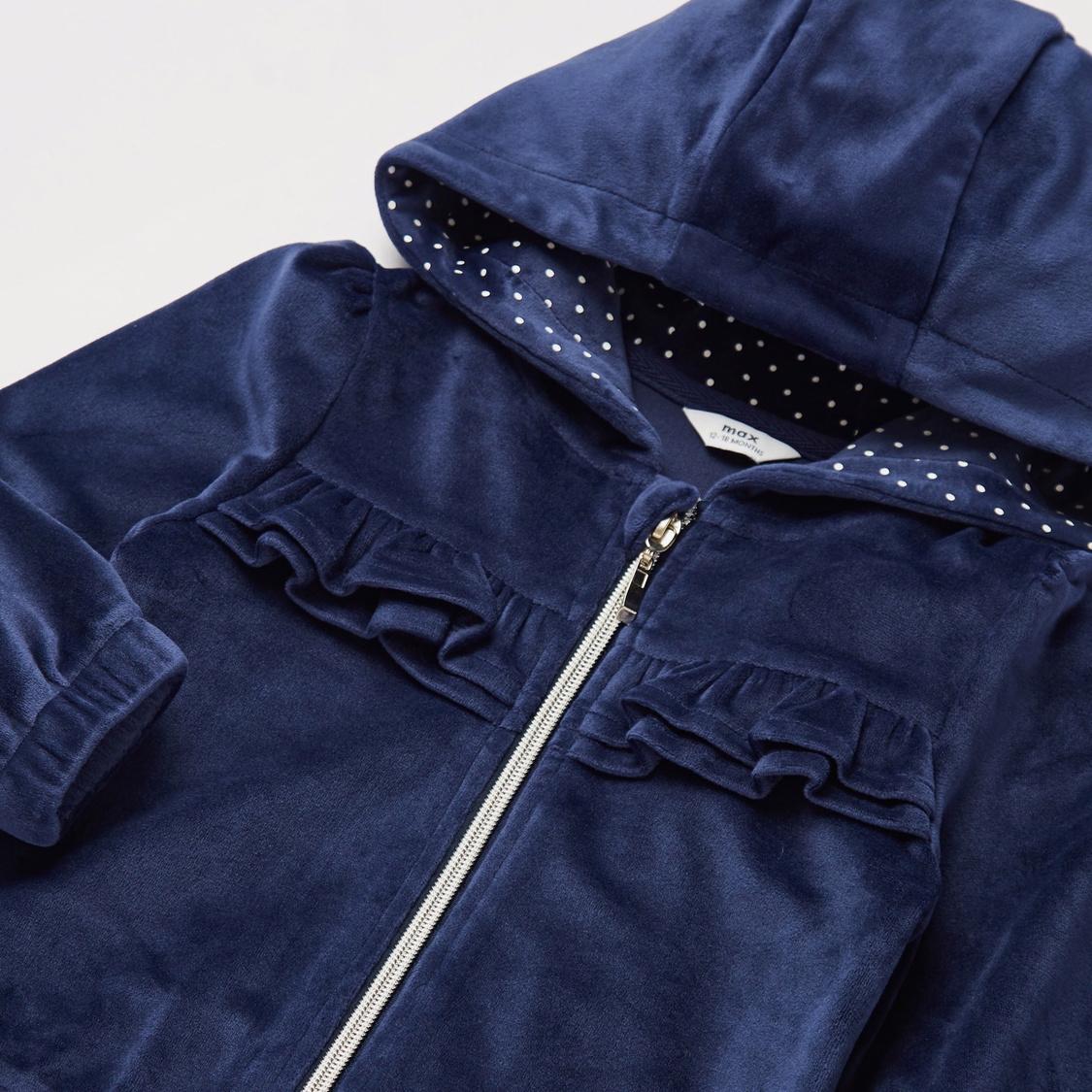Frill Detail Long Sleeves Jacket with Full Length Jog Pants