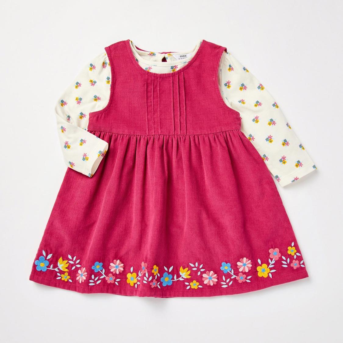 Floral Print Pinafore Dress and Long Sleeves T-shirt Set