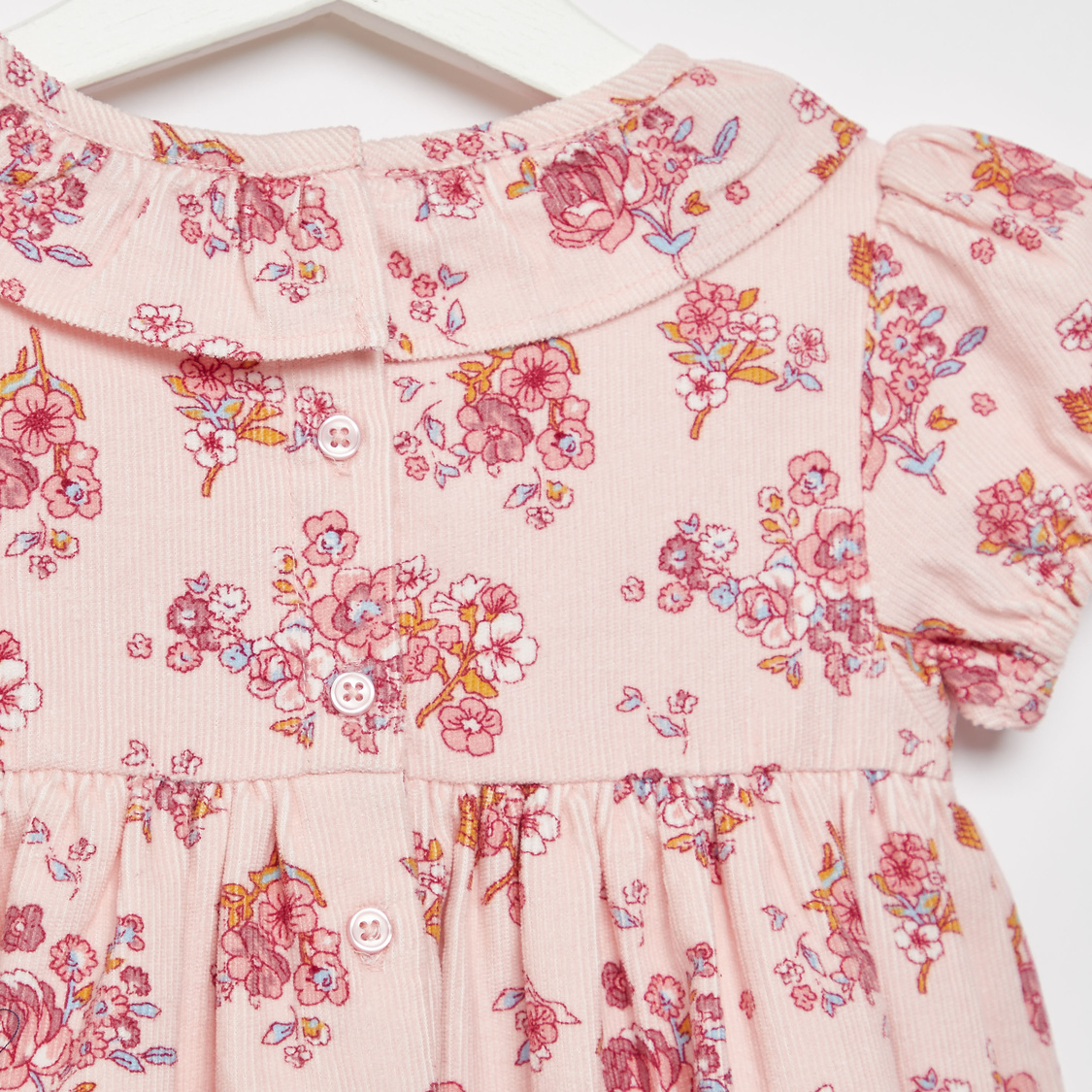 Floral Print Dress with Cap Sleeves and Ruffle Detail