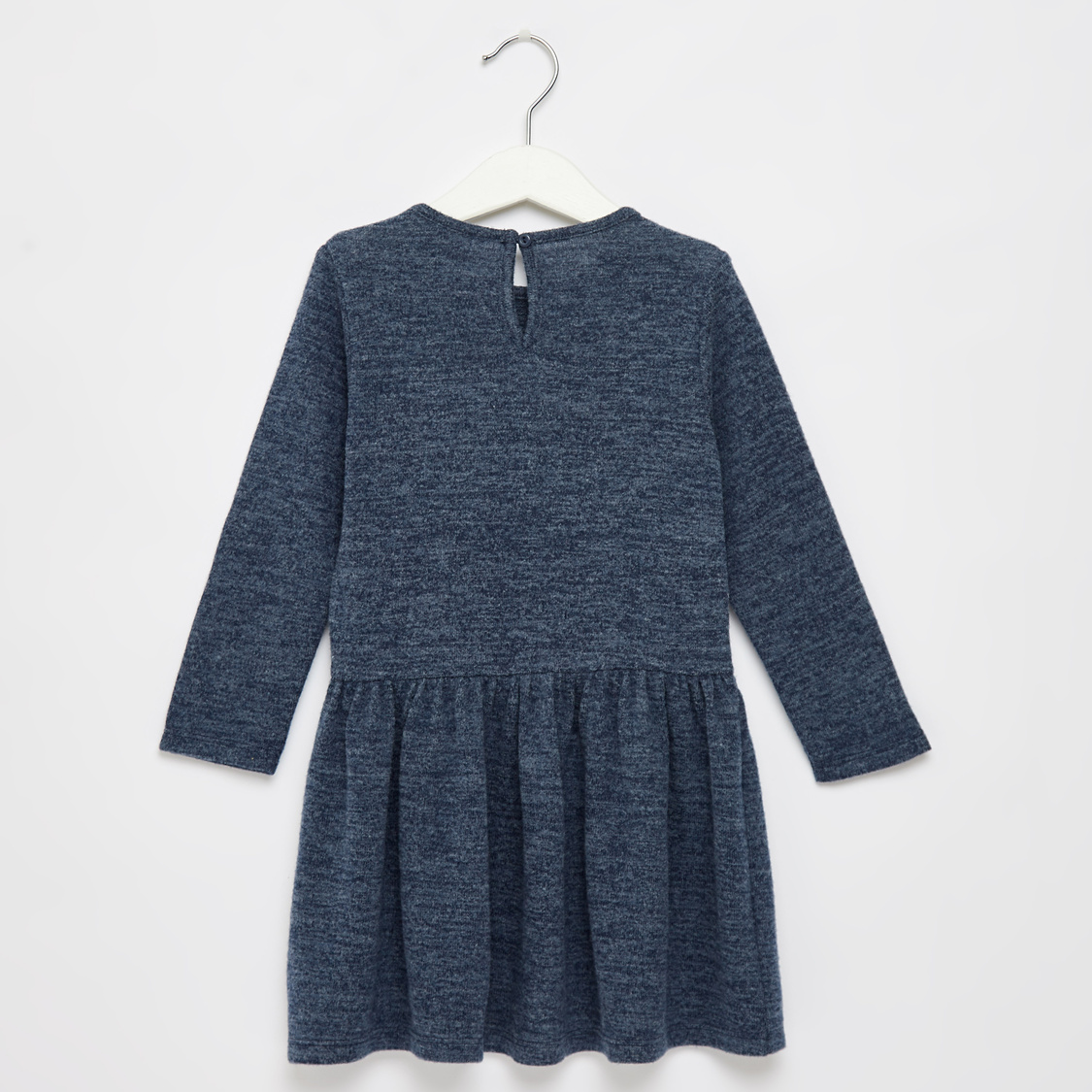 Solid Round Neck Dress with Long Sleeves and Ruffle Detail