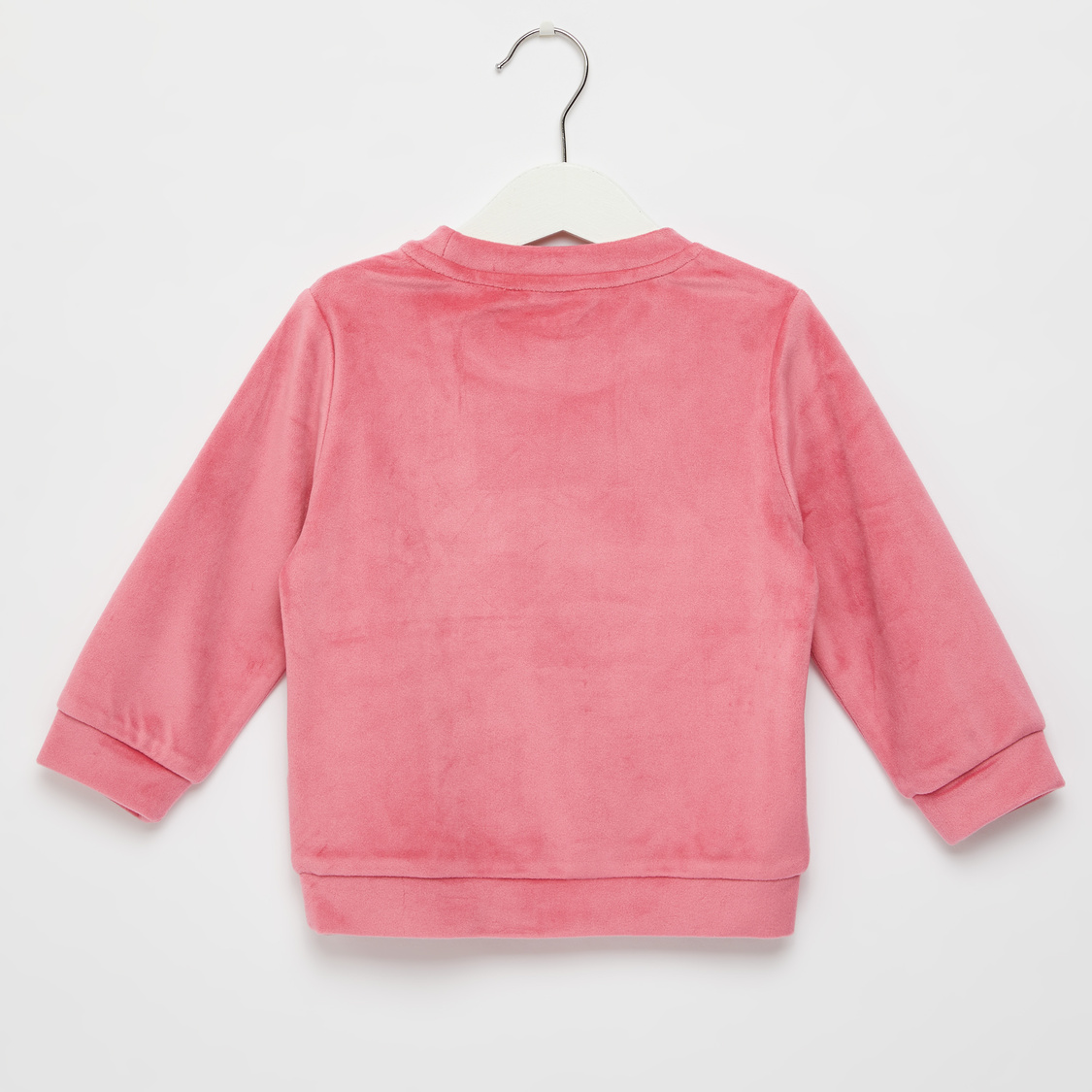 Unicorn Embroidered Sweat Top with Round Neck and Long Sleeves