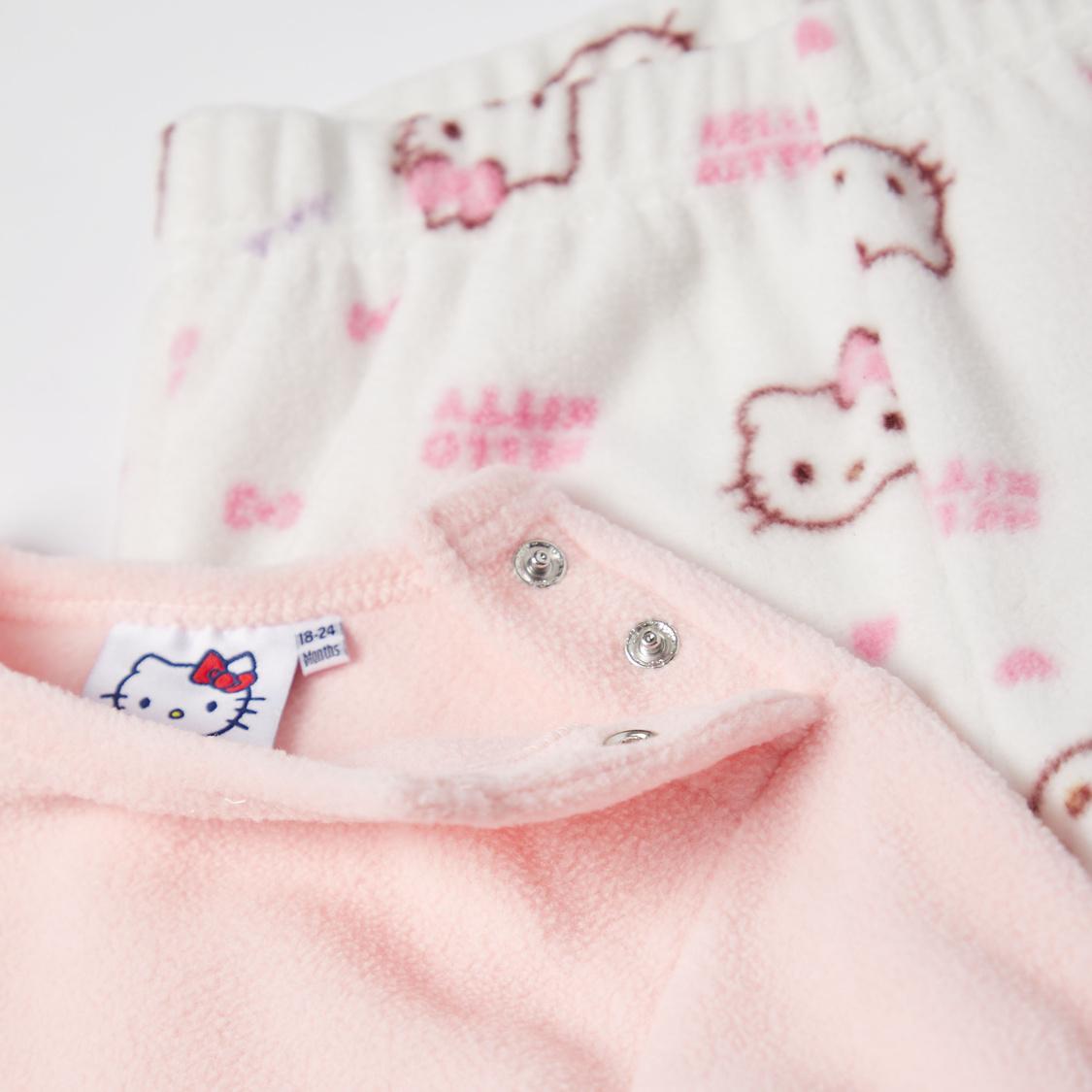 Hello Kitty Textured Long Sleeves T-shirt and Pyjama Set