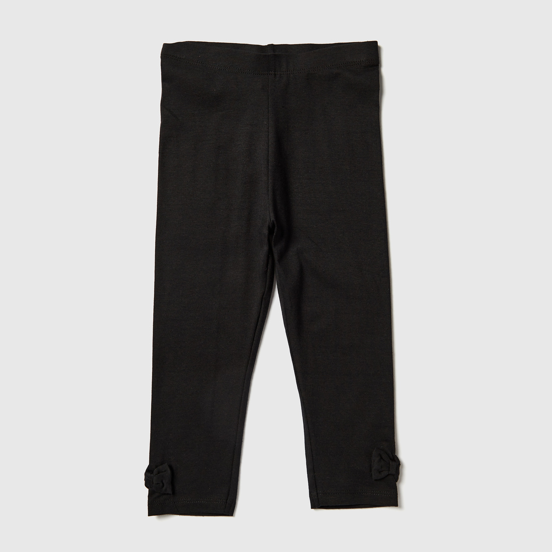 Solid Leggings with Elasticised Waistband and Bow Accent