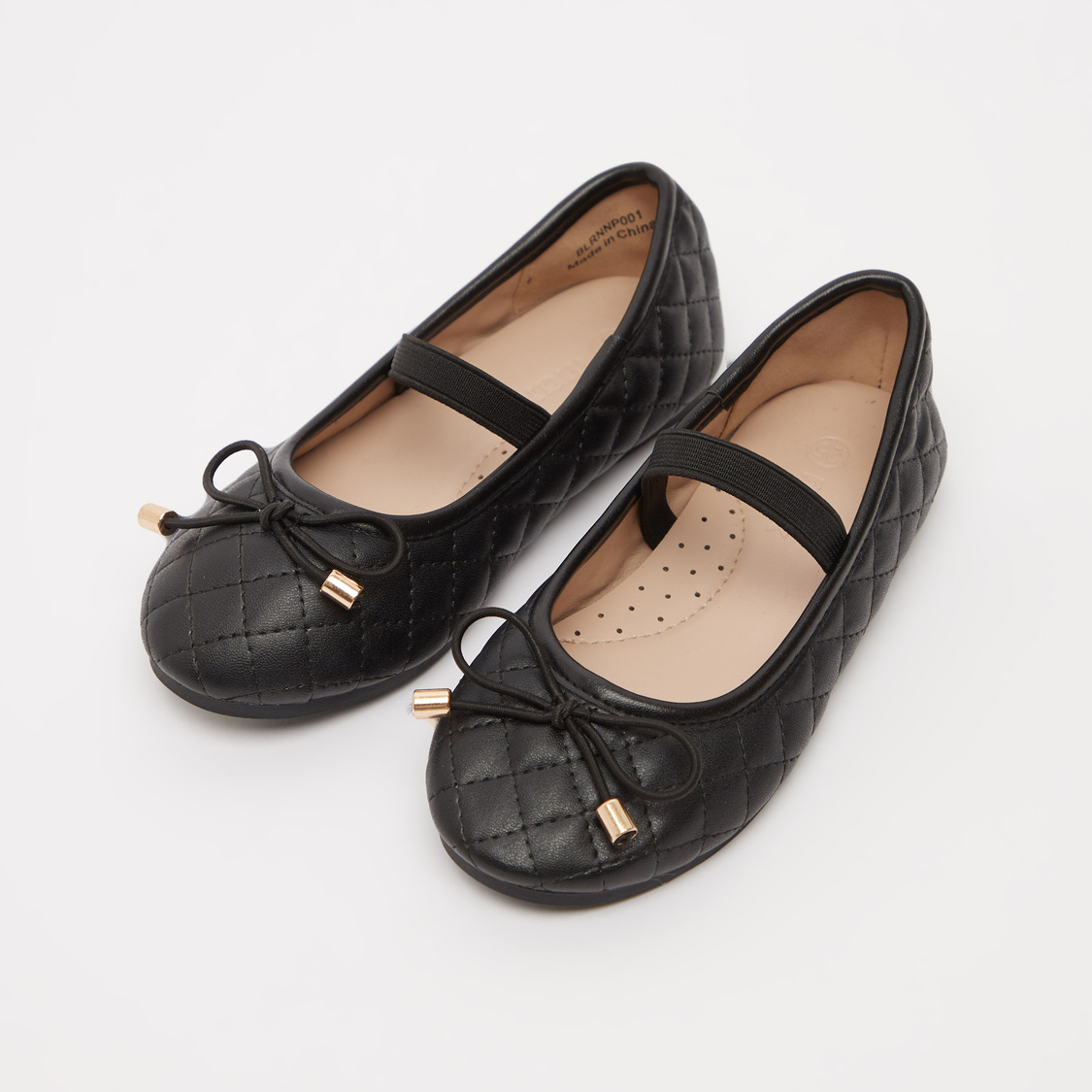 Quilted Ballerina Shoes with Bow Applique and Elasticised Band